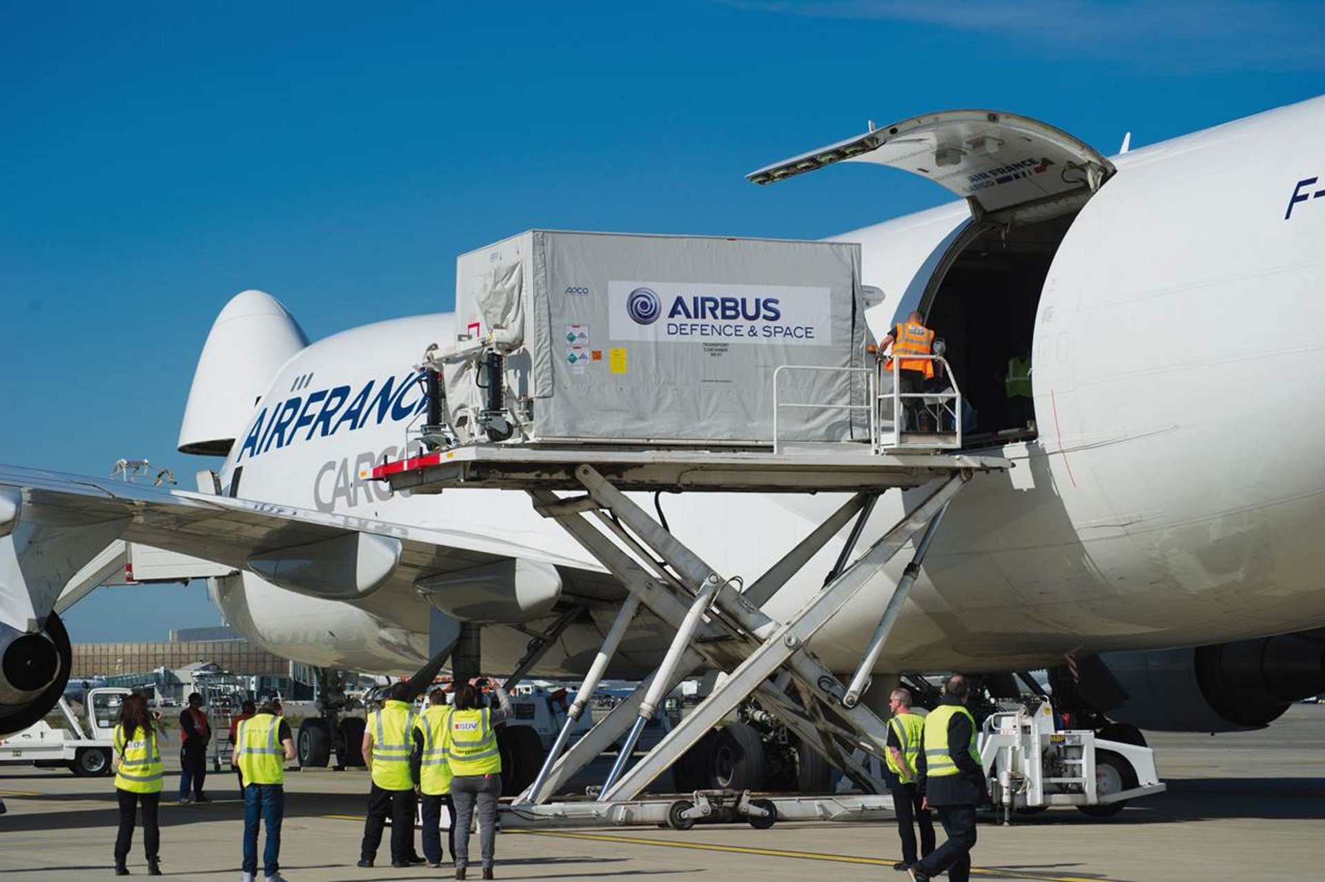 KazEOSat-1 satellite leaving Toulouse Airport for Kourou to be launched