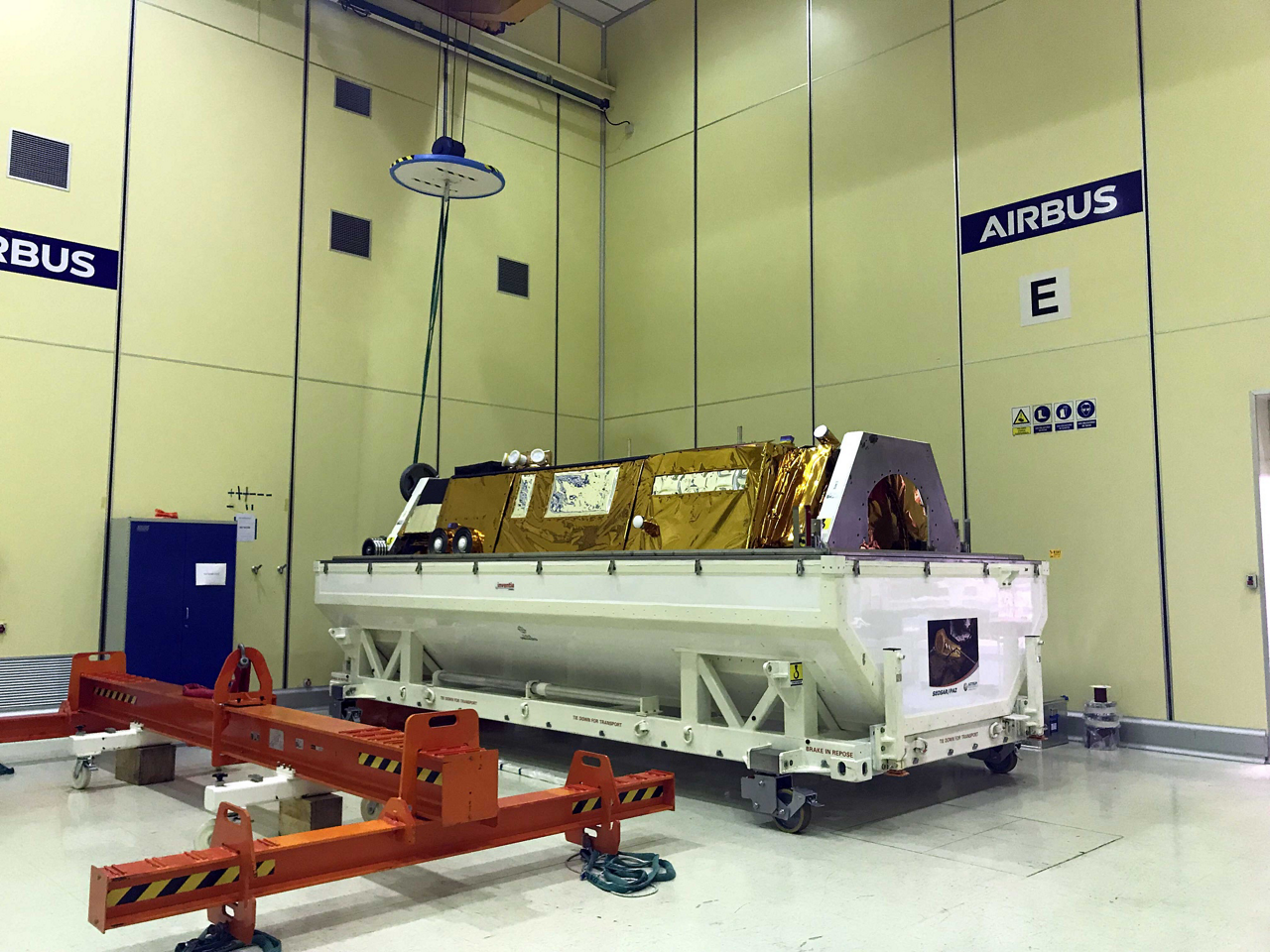 PAZ satellite moments before being loaded into its container