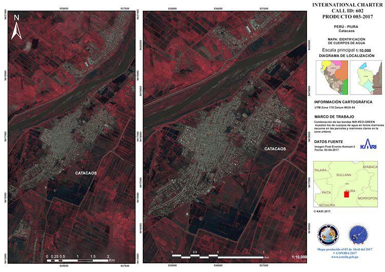 Kompsat 3 Water Detection Map - Catacaos, Peru