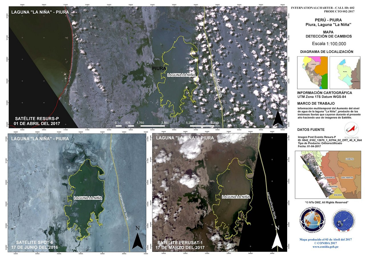 Spot 6 and PerúSAT-1 Change Detection Map - Laguna La Nina, Piura