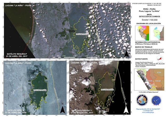 Spot 6 and PerúSAT-1 Change Detection Map - Laguna La Nina, Piura