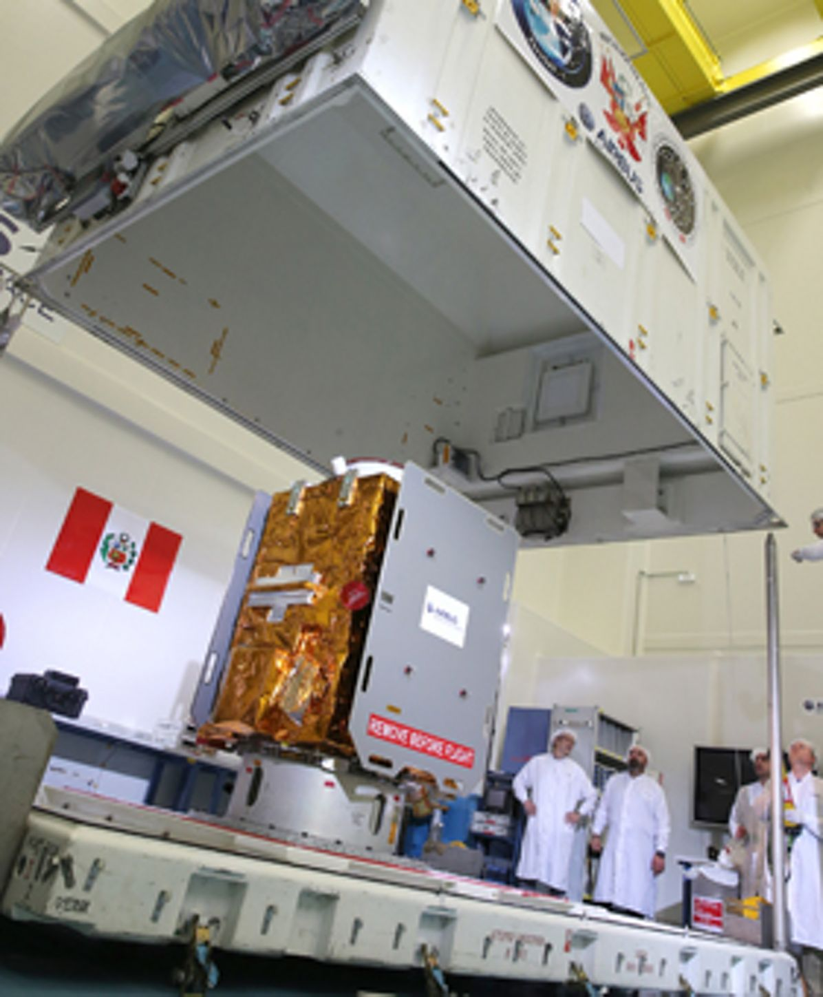 PerùSAT-1 satellite storage in Airbus Toulouse cleanroom