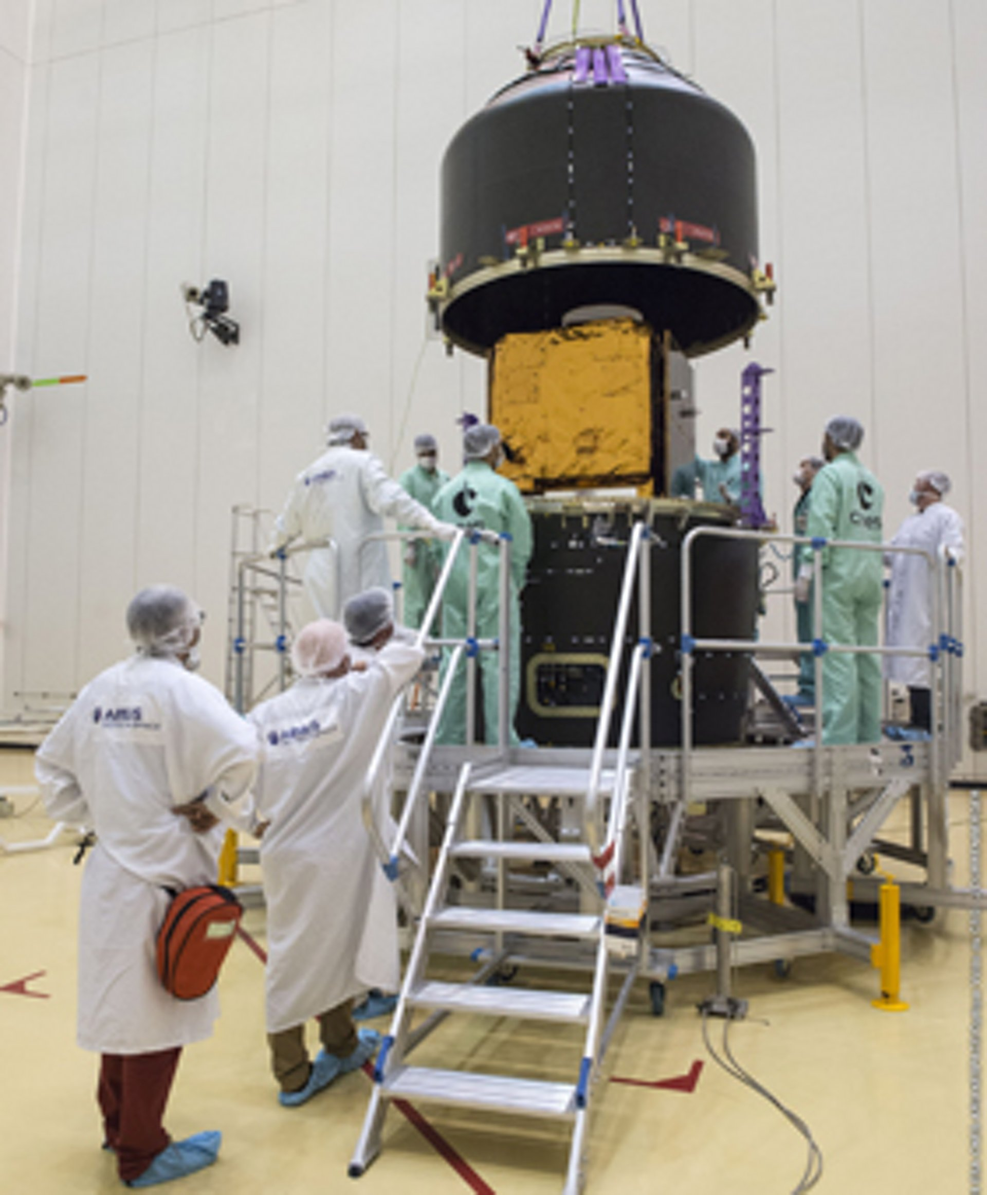 PerúSAT-1 satellite prepared for the launch at Kourou