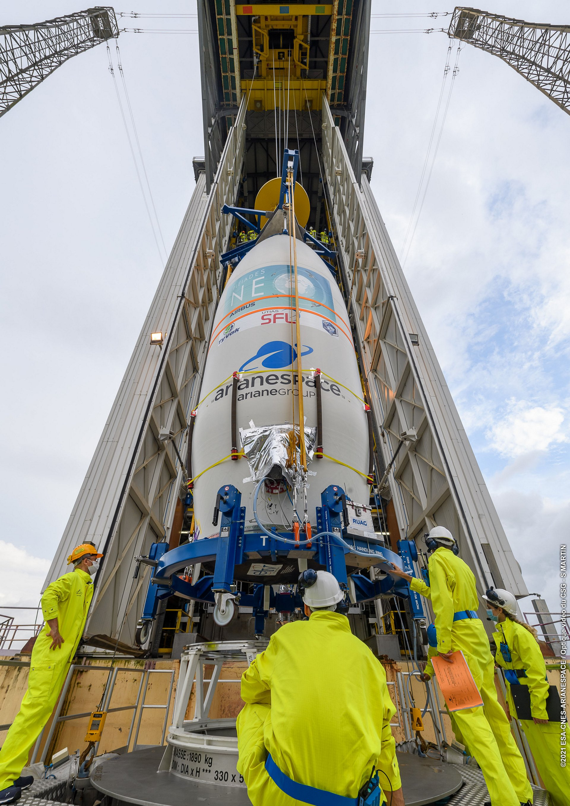 Pléiades Neo 3 getting ready for launch on Vega in Kourou.