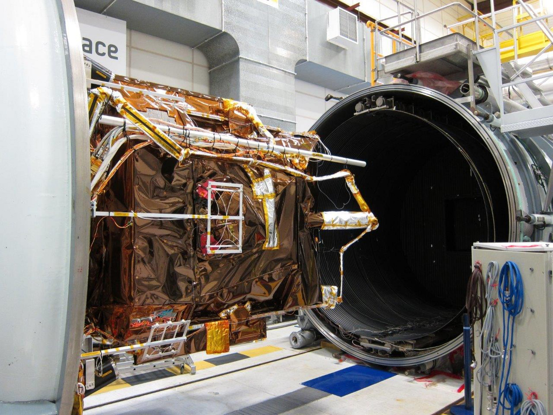 The first two Airbus-built Pléiades Neo imaging satellites in a comprehensive environmental testing, to ensure they are ready for in-orbit operation.