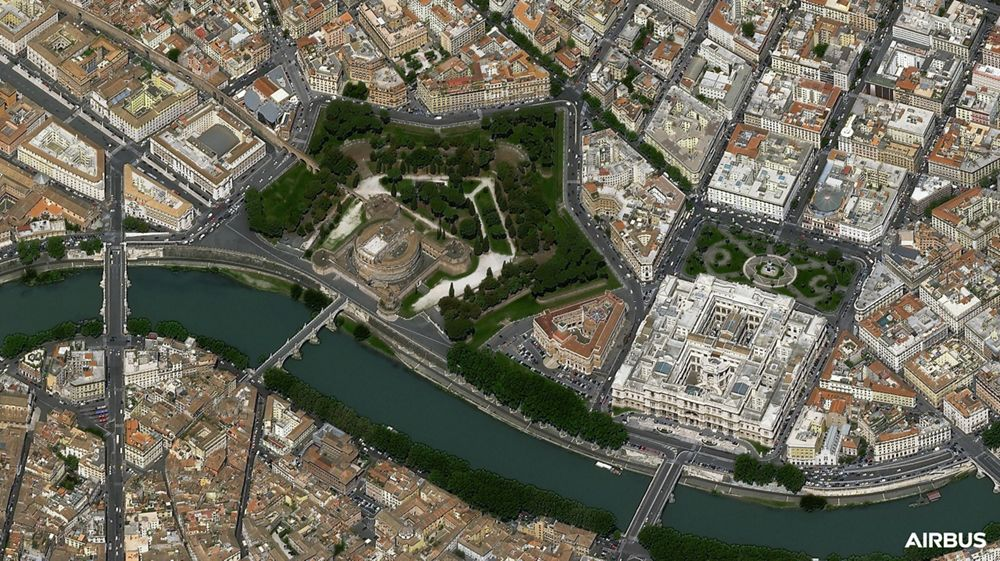 Castel Sant'Angelo, Rome, Italy, at 30cm native resolution, by Pléiades Neo 3 satellite