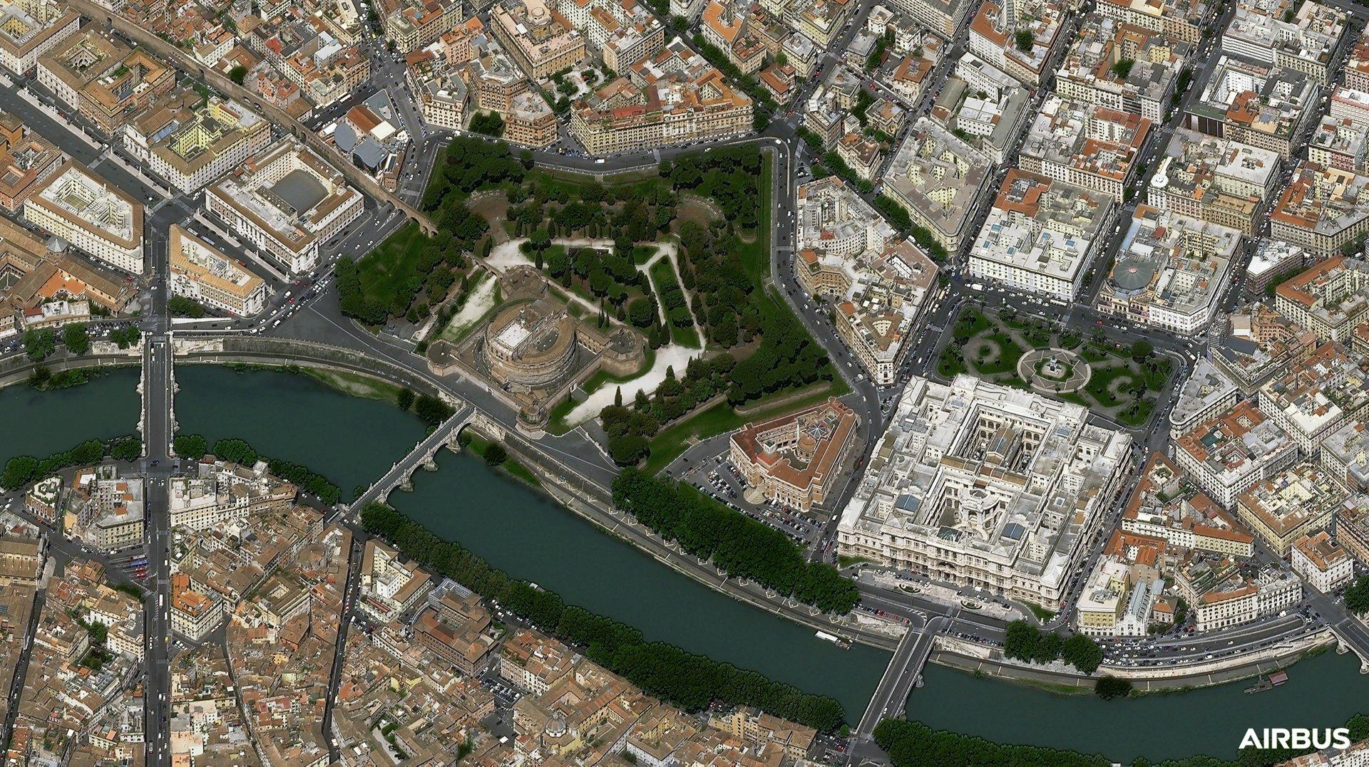 圣安杰洛城堡,罗马,意大利,30厘米的本地分辨率,Pléiades Neo 3卫星