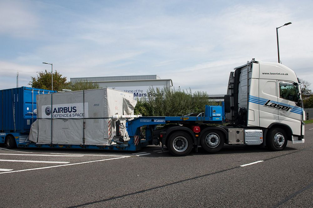 Airbus-built Sentinel-5P satellite leaving Stevenage facility