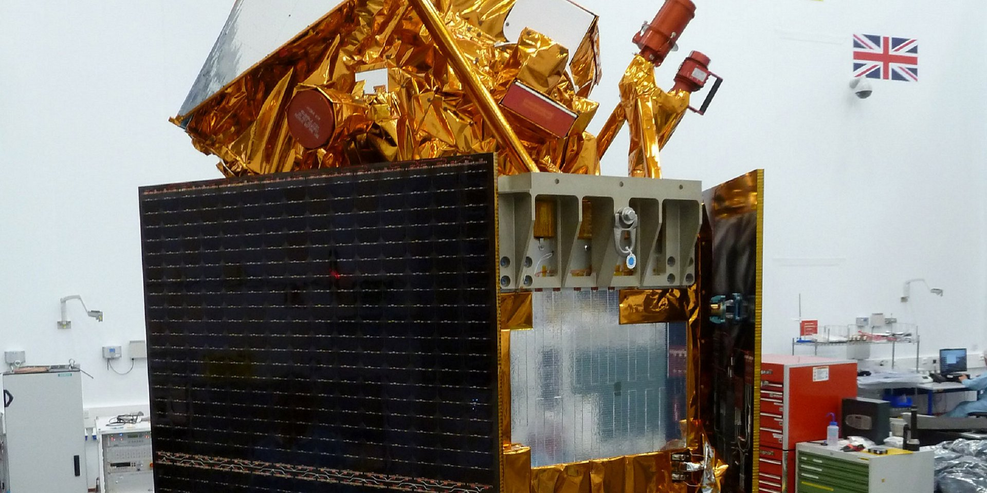 Airbus-built Sentinel-5P satellite in clean room, Stevenage