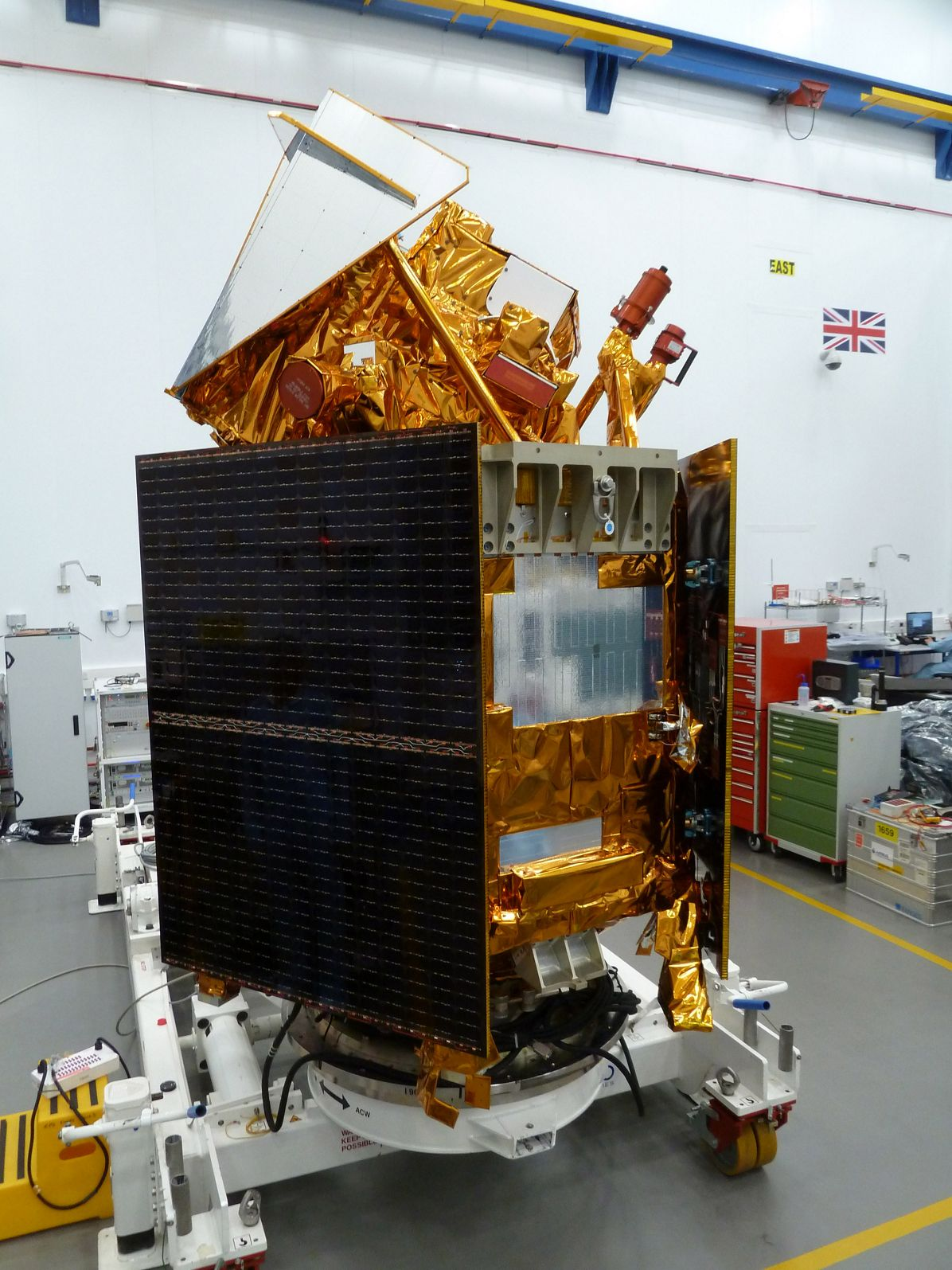 Airbus-built Sentinel-5P in clean room, Stevenage