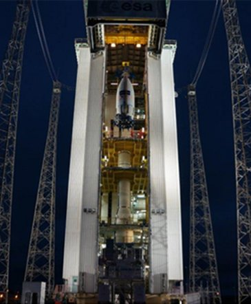 Vega launcher preparation before launch  with Sentinel-2A satellite from the spaceport in Kourou, French Guiana