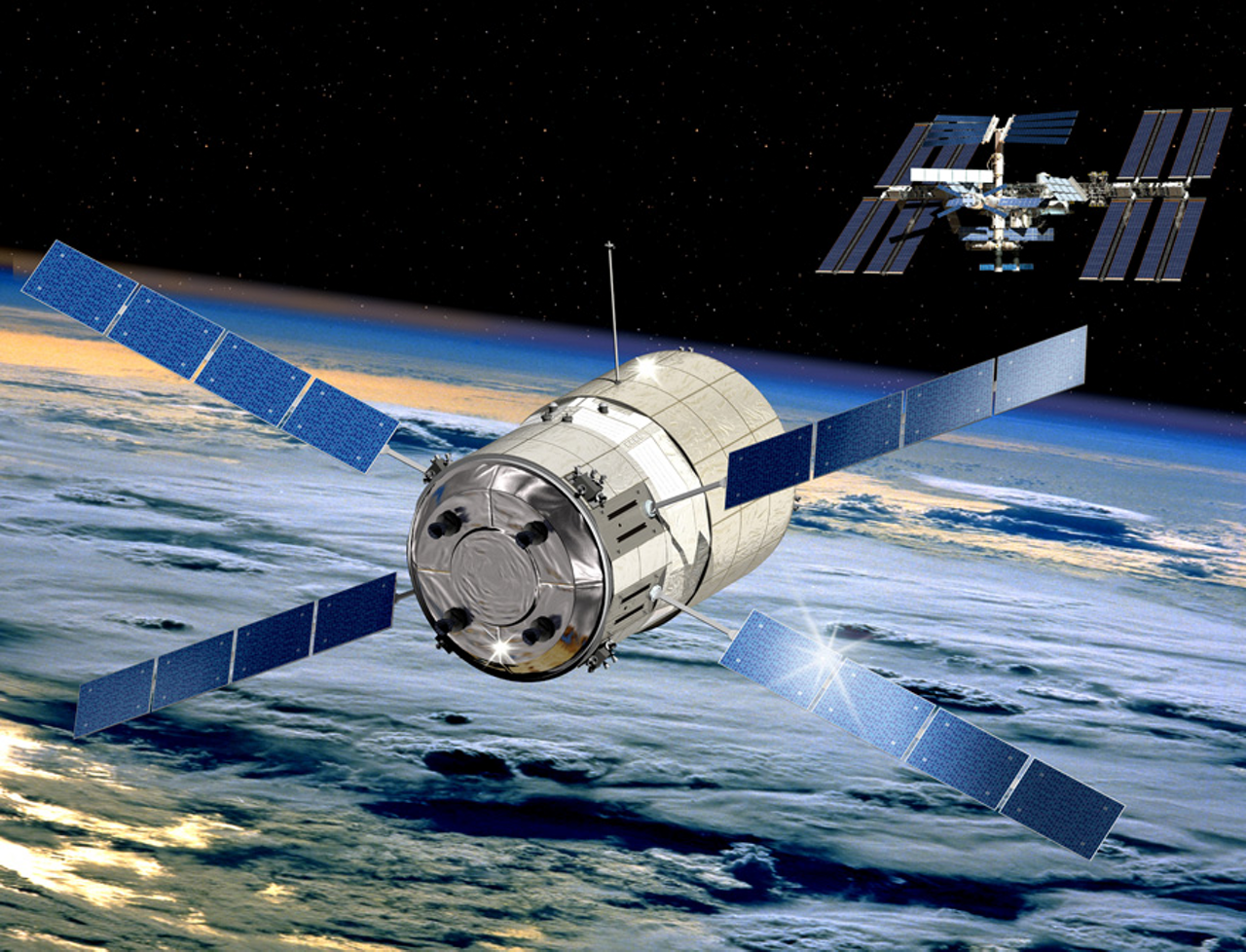 A representation of the Automated Transfer Vehicle (ATV) for servicing of the International Space Station.