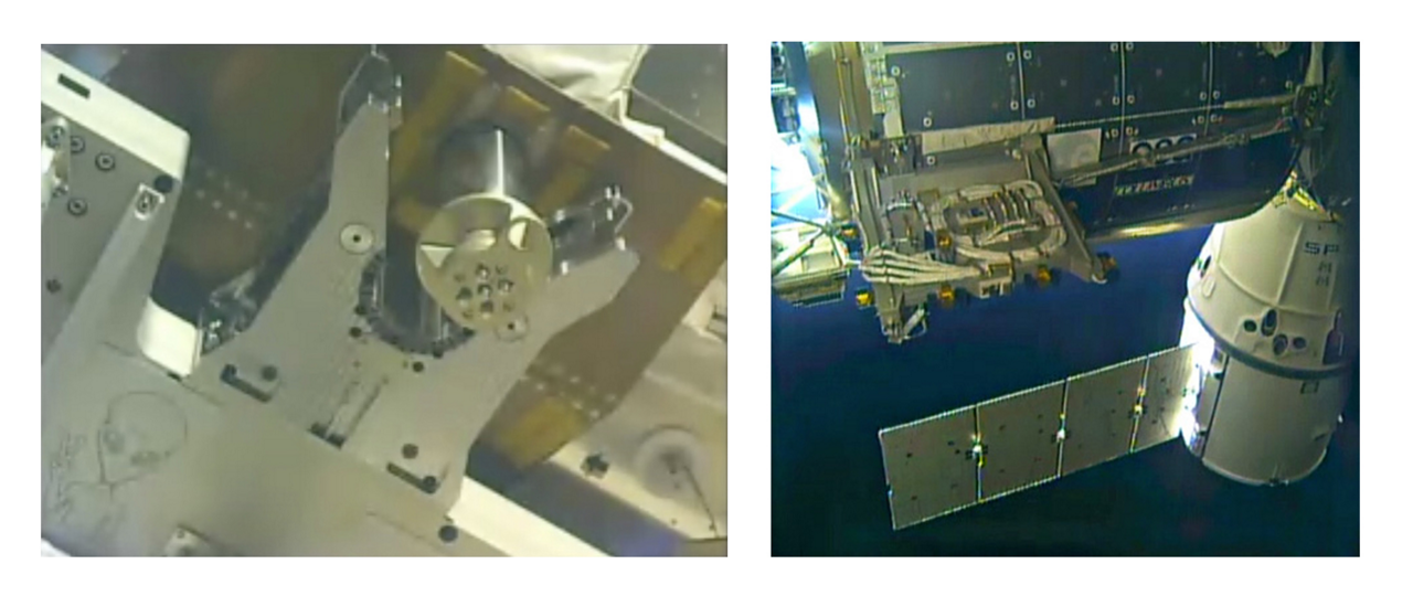On the left: taken by the camera of the robotic arm, shows a clamp of the Bartolomeo platform slowly closing around a docking port at the Columbus laboratory. On the right: Bartolomeo installed and mounted to the Columbus laboratory (©NASA)