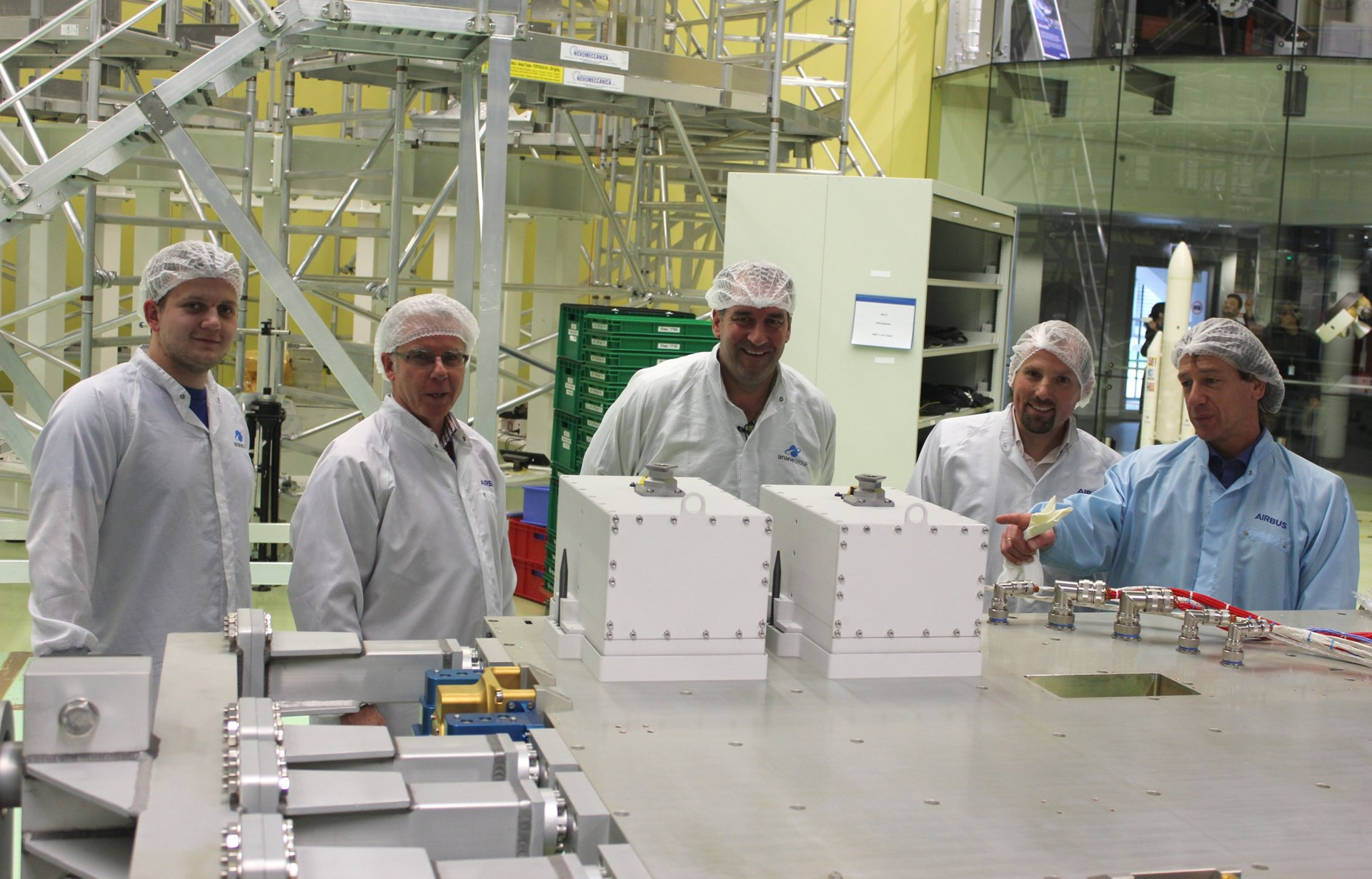 Bartolomeo Team in the clean room of Airbus in Bremen