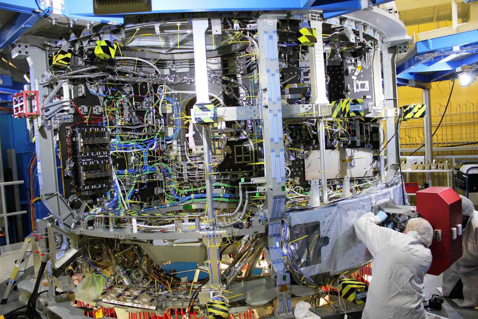 Integration of the European Service Module (ESM) for Orion, the American crewed spacecraft for the Artemis programme, at Airbus' Bremen site.