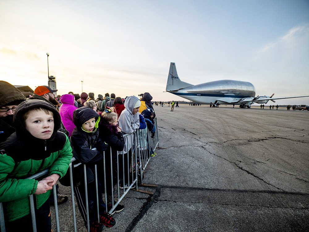 The Super Guppy after landing