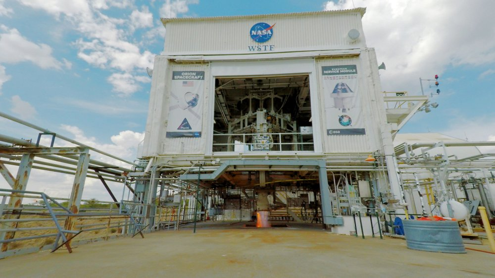 The hot firing test stand in White Sands, New Mexico where the Airbus built Orion propulsion test module fires its engines