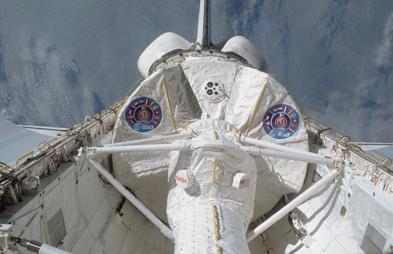 A partial view of the Spacelab reusable laboratory, launched into orbit in 1983.