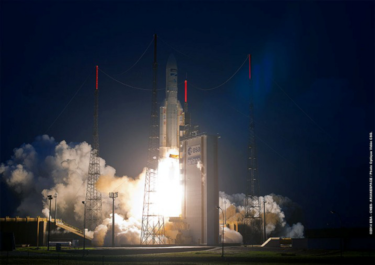 An Ariane 5 launch vehicle lifts off from the Guiana Space Centre in French Guiana.
