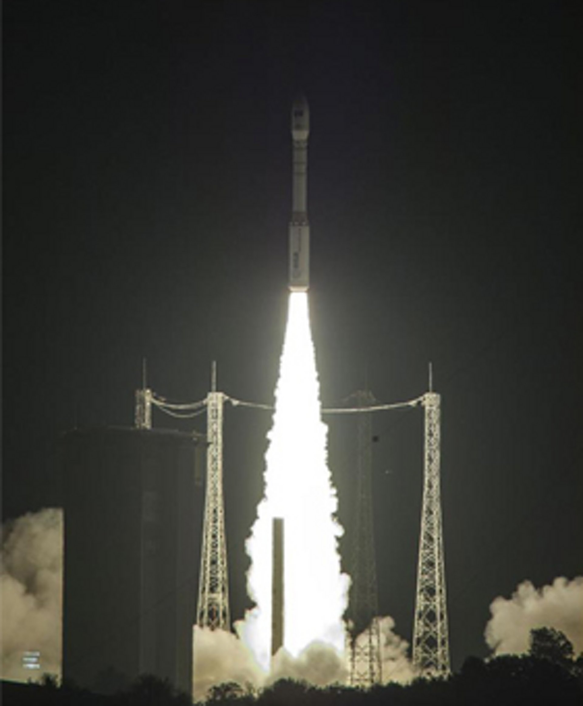 Vega launcher take off carrying Sentinel-2A satellite from the spaceport in Kourou, French Guiana