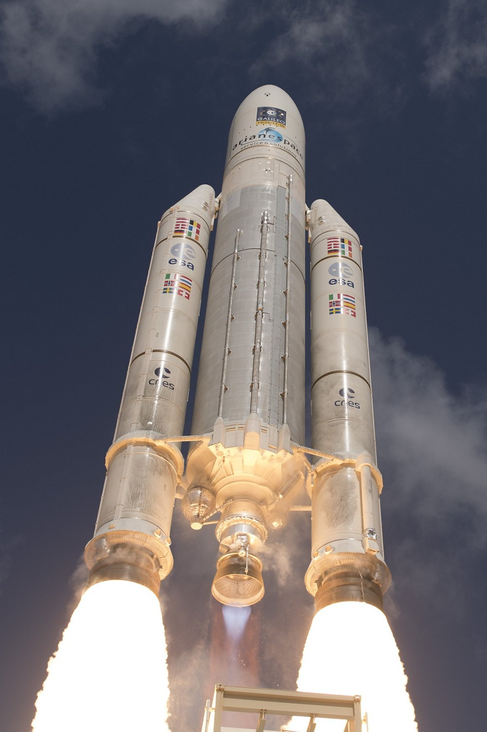 Galileo satellites' launch for the In-Orbit Validation phase aboard an Ariane 5 from Kourou, French Guiana