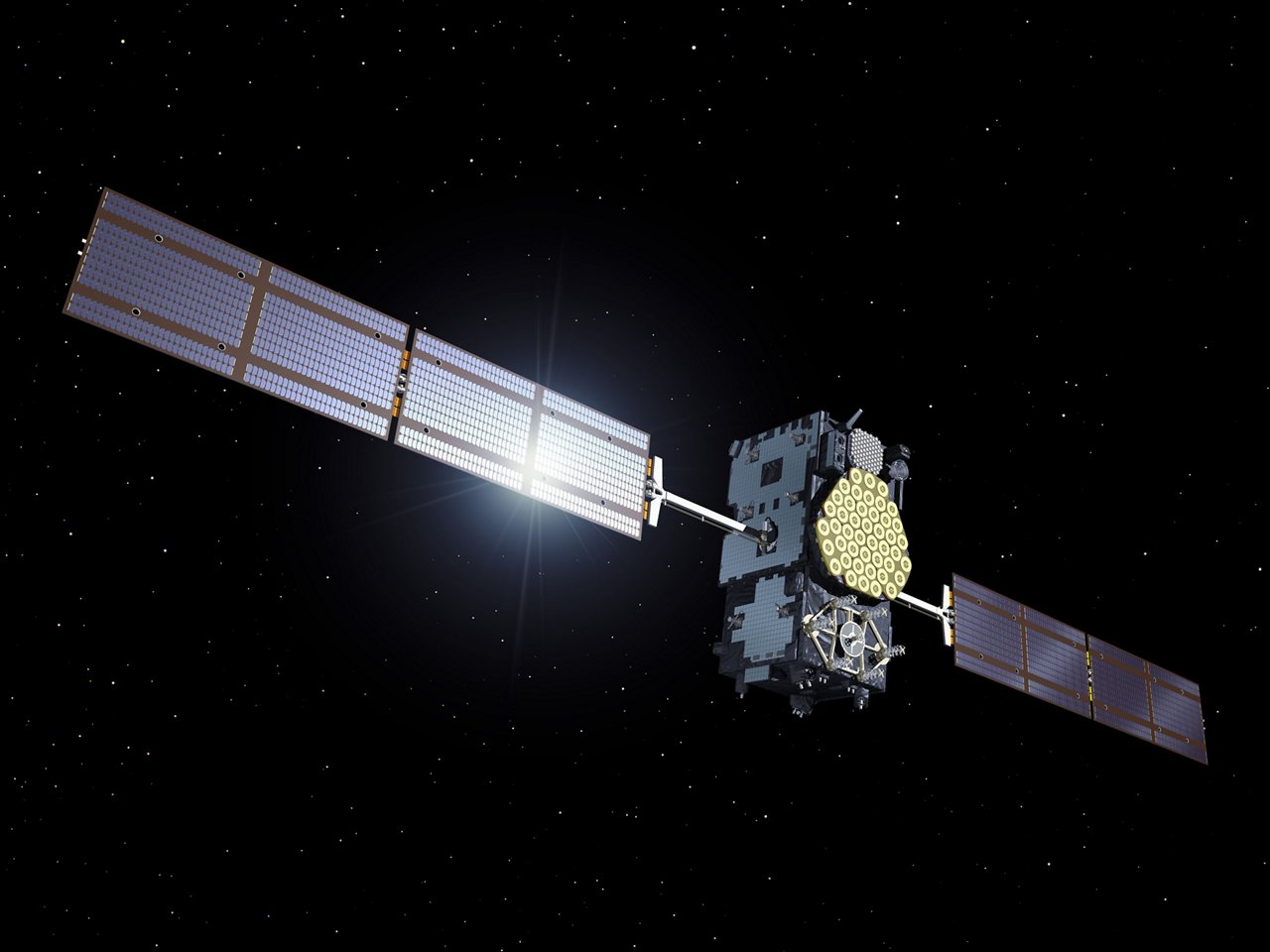 A Galileo satellite of the In-Orbit Validation phase in space