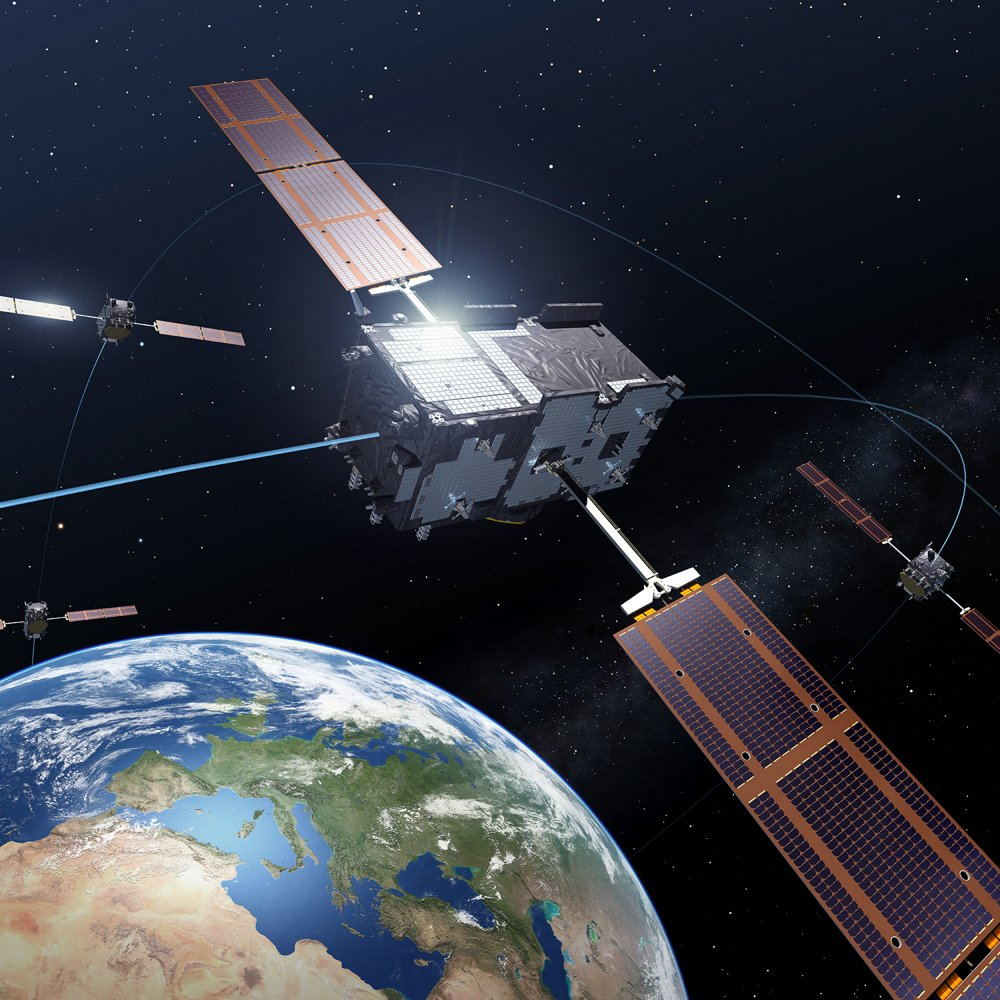Galileo satellites in orbit around the Earth