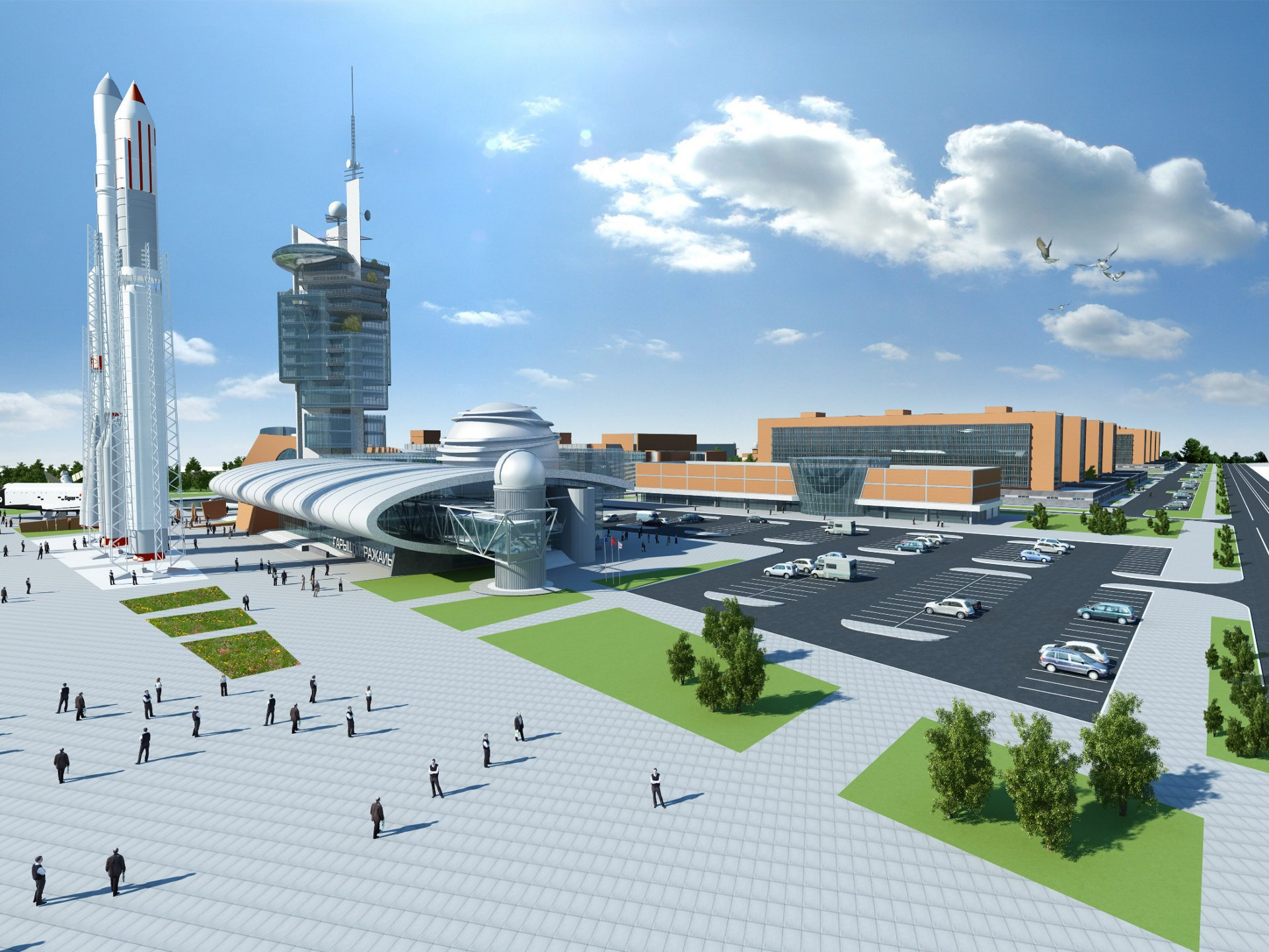 A computer rendering of a futuristic spacecraft test centre developed with guidance and support from Airbus.