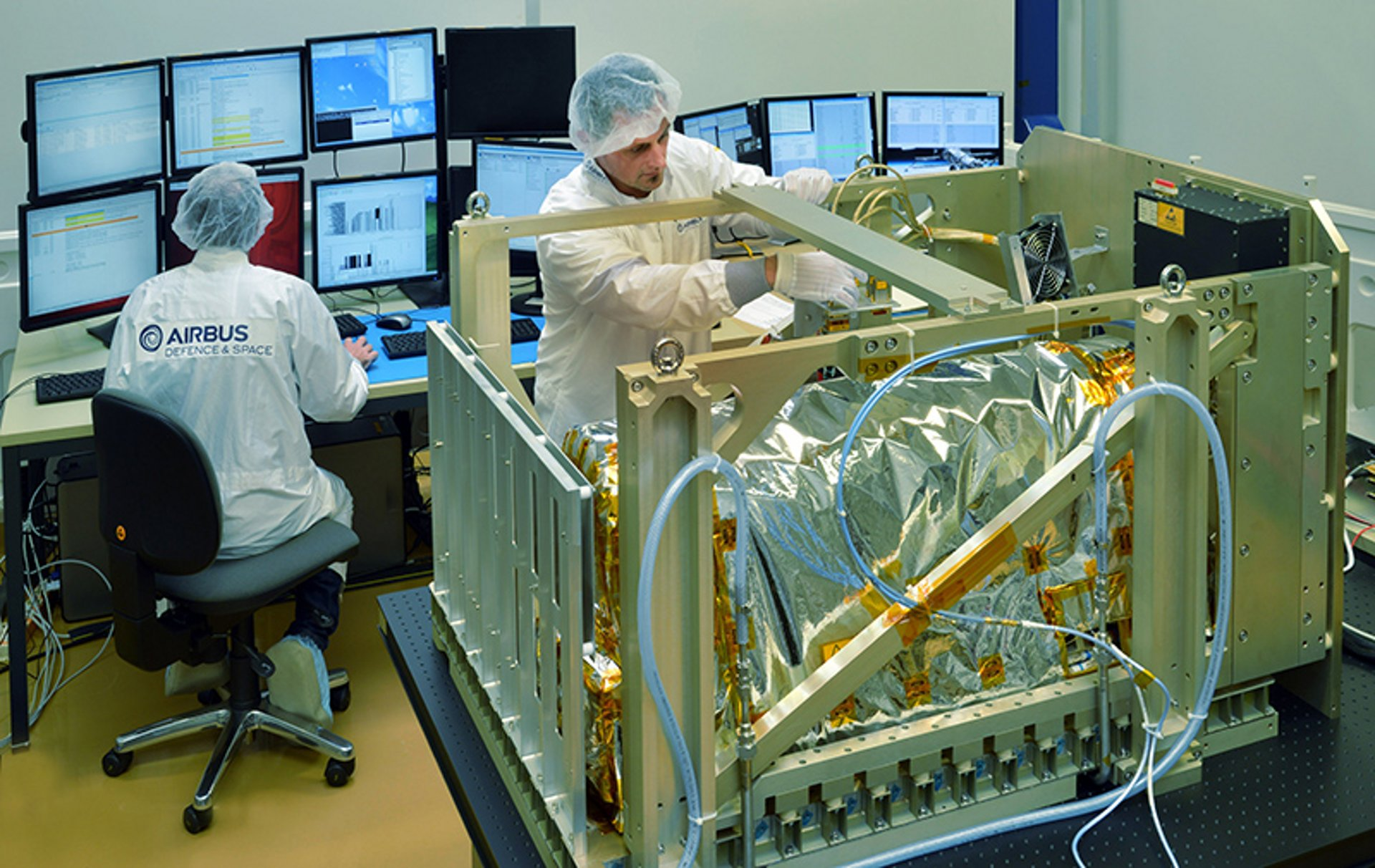 Assembling  of the ACES (Atomic Clock Ensemble in Space) in Airbus facility to test Einstein's general theory of relativity