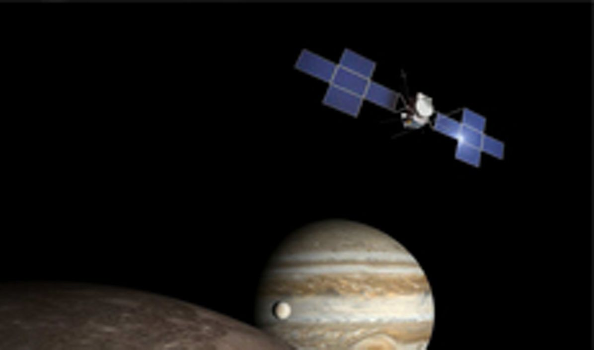 Juice satellite approaching Jupiter