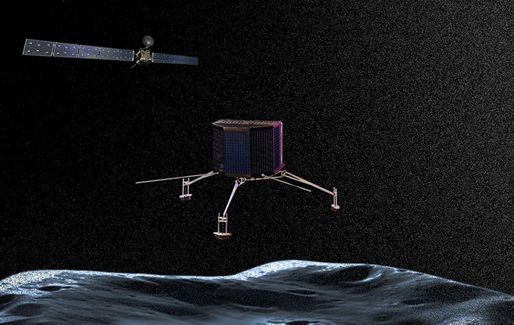 Rosetta probe and  the Philae near to land on the comet called 67P/Churyumov-Gerasimenko