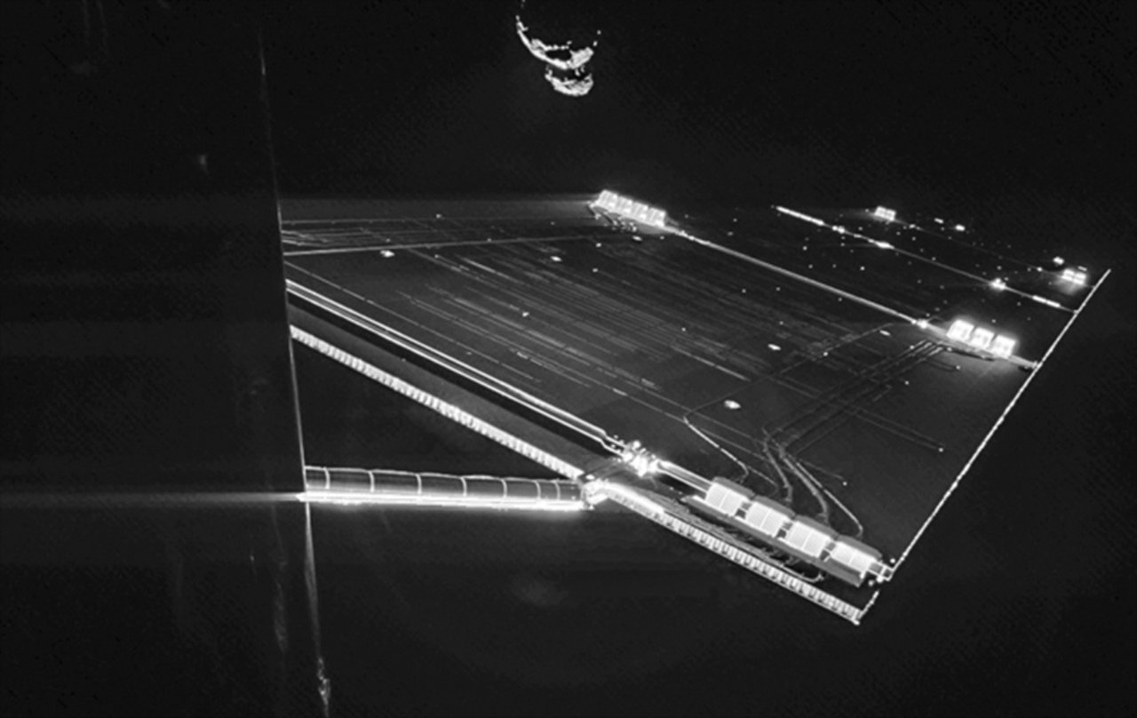 Image from Philae of  the side of the Rosetta spacecraft and one of its  solar wings