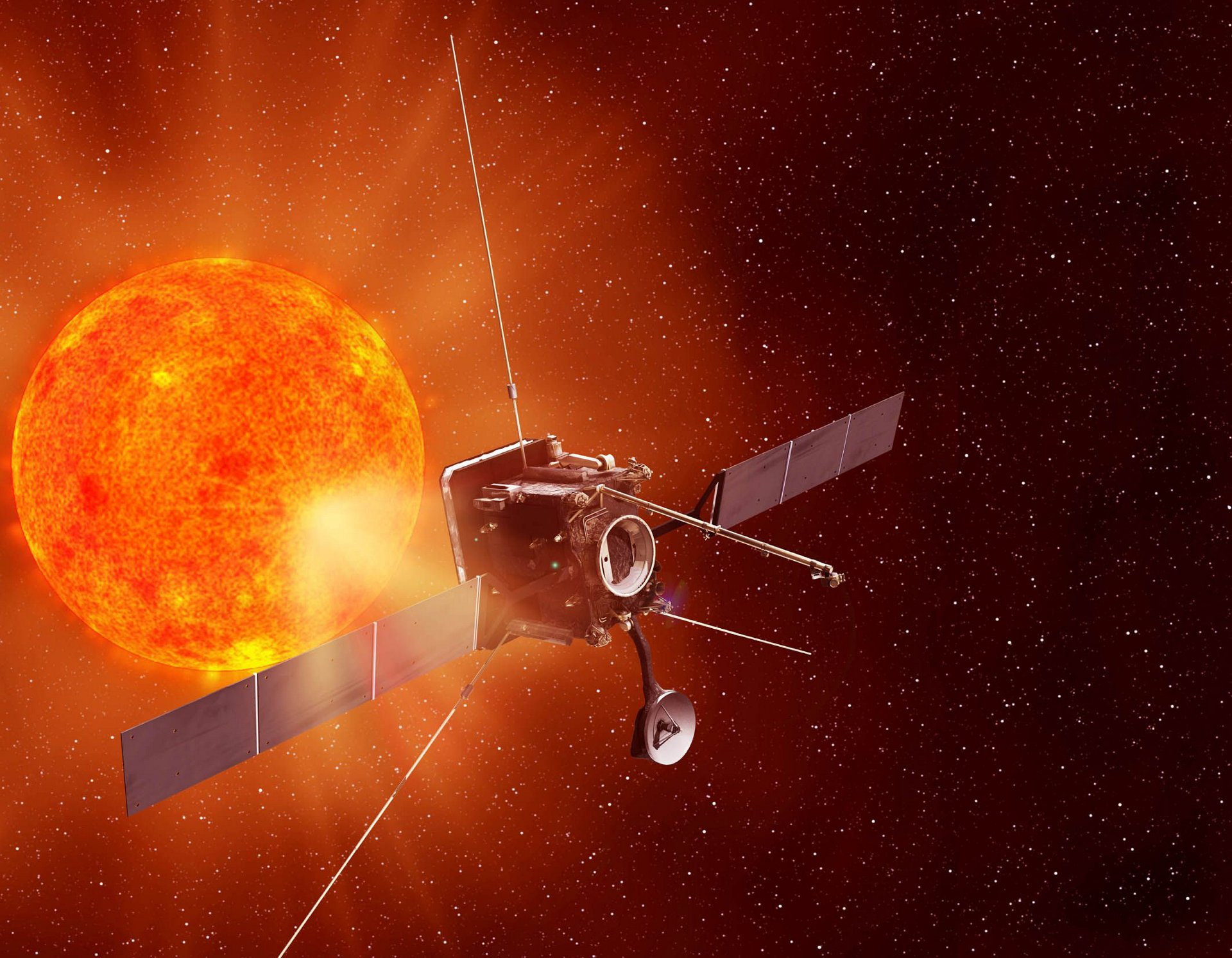 Artist view of Solar Orbiter, designed and built by Airbus Defence and Space-led team, will scrutinise the Sun in unprecedented detail.