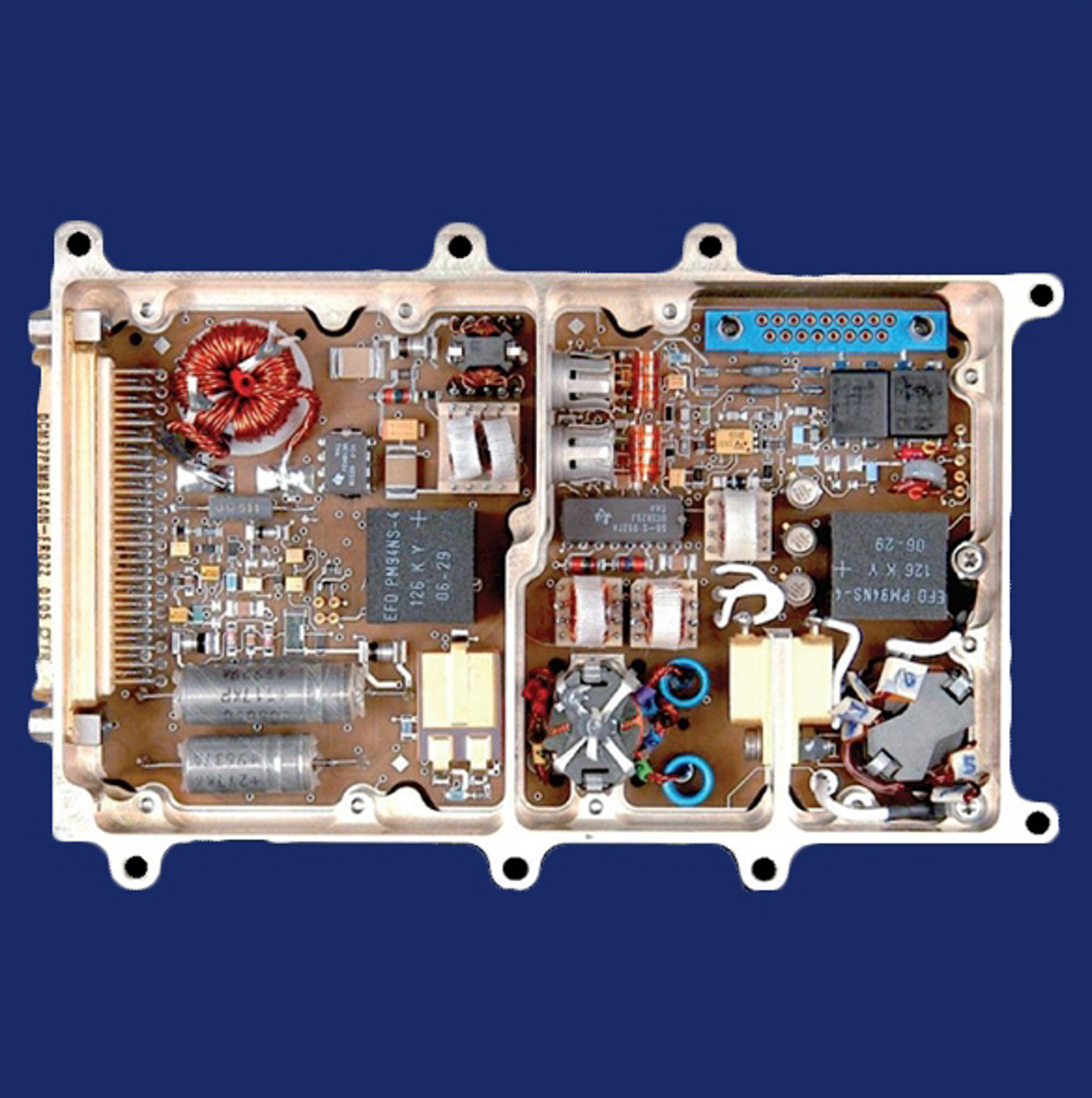 A close-up view of an 60-90 WRF GaN solid state power amplifier for space applications.