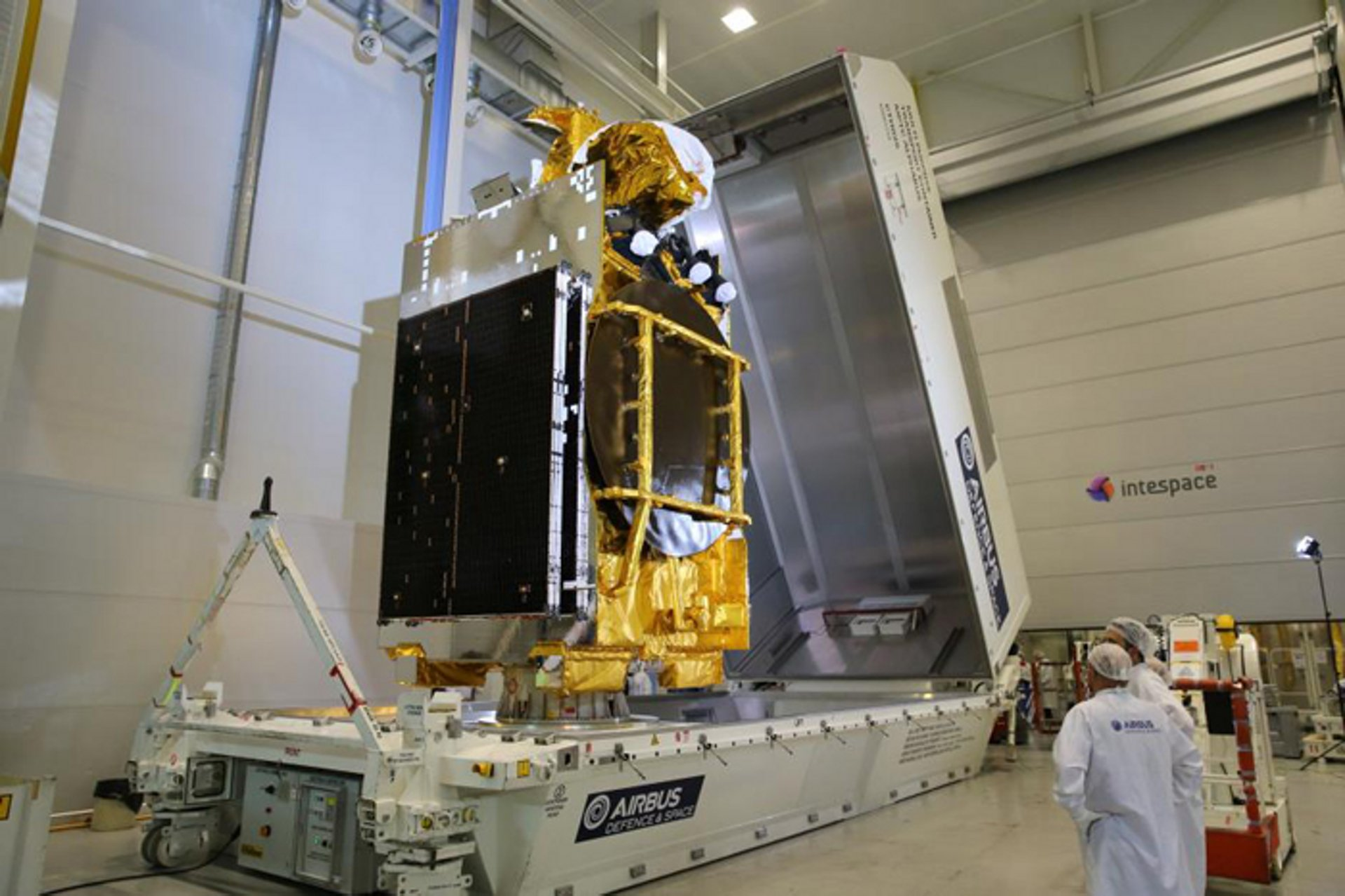 ARABSAT 6B (BADR-7) satellite at Airbus Toulouse before shipping