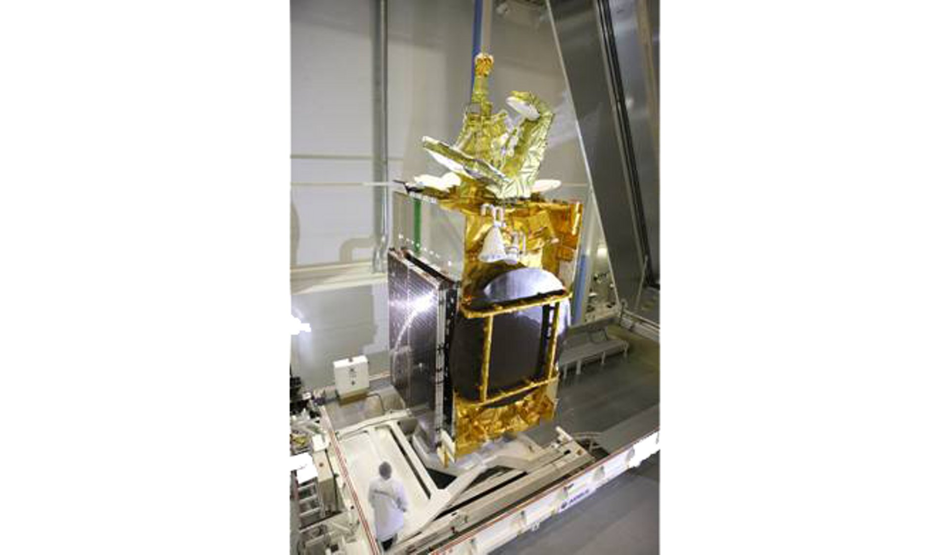 Eutelsat 3B satellite, built by Airbus, ready to be transported for launch