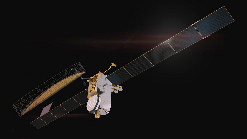 A representation of an Inmarsat GX-series satellite, which is based on Airbus' OneSat satellite platform.