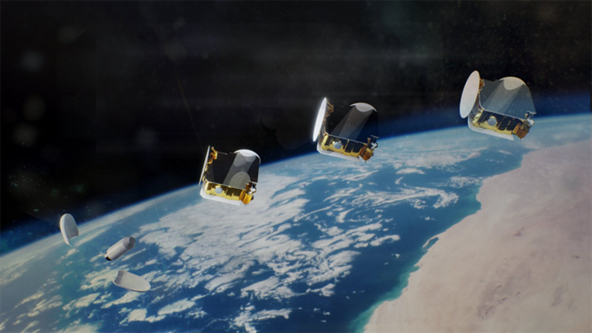Artist view 3 satellites OneSat after launch