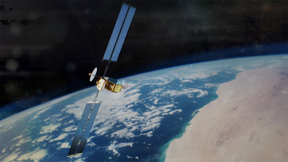 A representation of an Airbus-produced OneSat satellite in orbit.