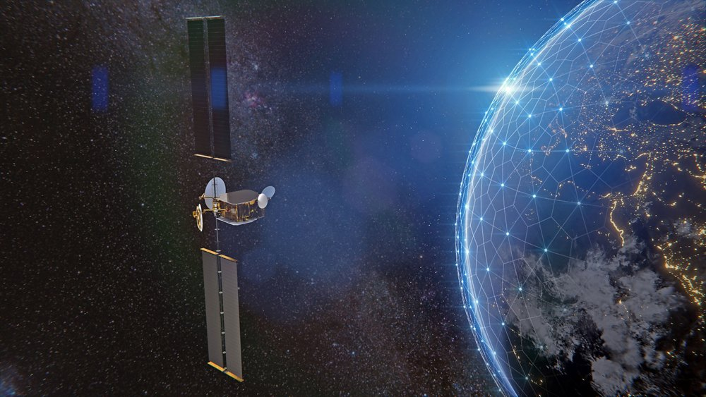 A computer rendering of the Airbus-produced OneSat telecommunications satellite, which is fully reconfigurable in orbit.