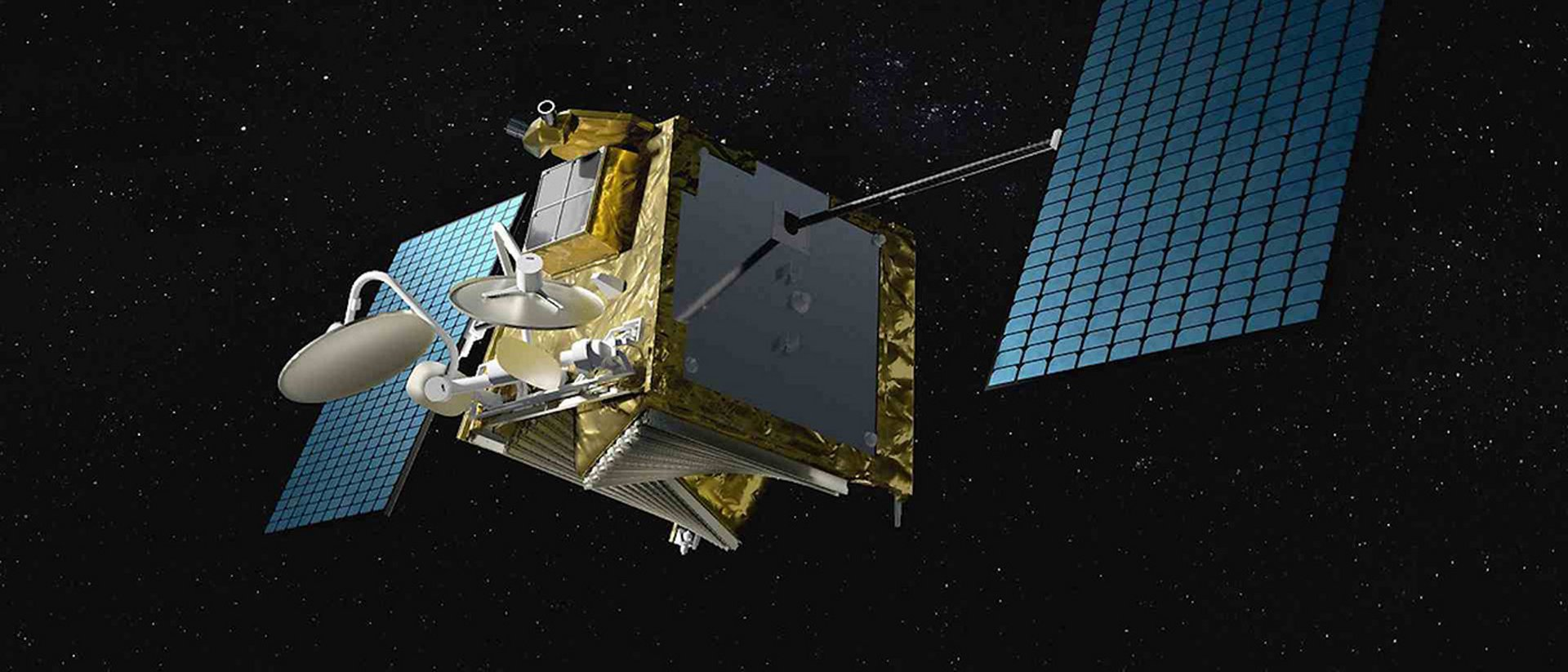 A 3D model of an Airbus-built OneWeb satellite in space