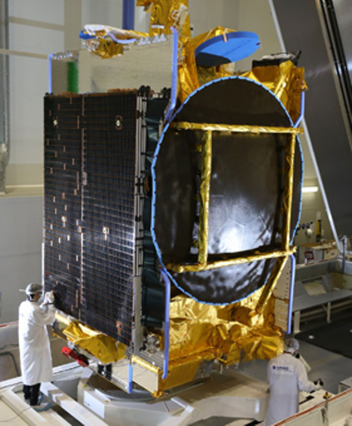 SES-10, the 10th Eurostar satellite built by Airbus for satellite operator SES, in cleanrooms in Toulouse, France