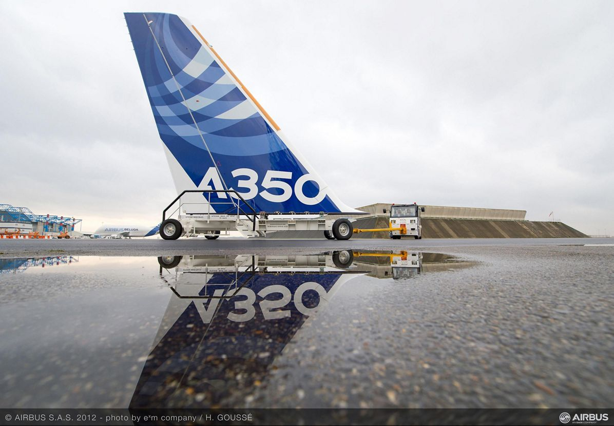 A350 XWB vertical tail plane gets its livery