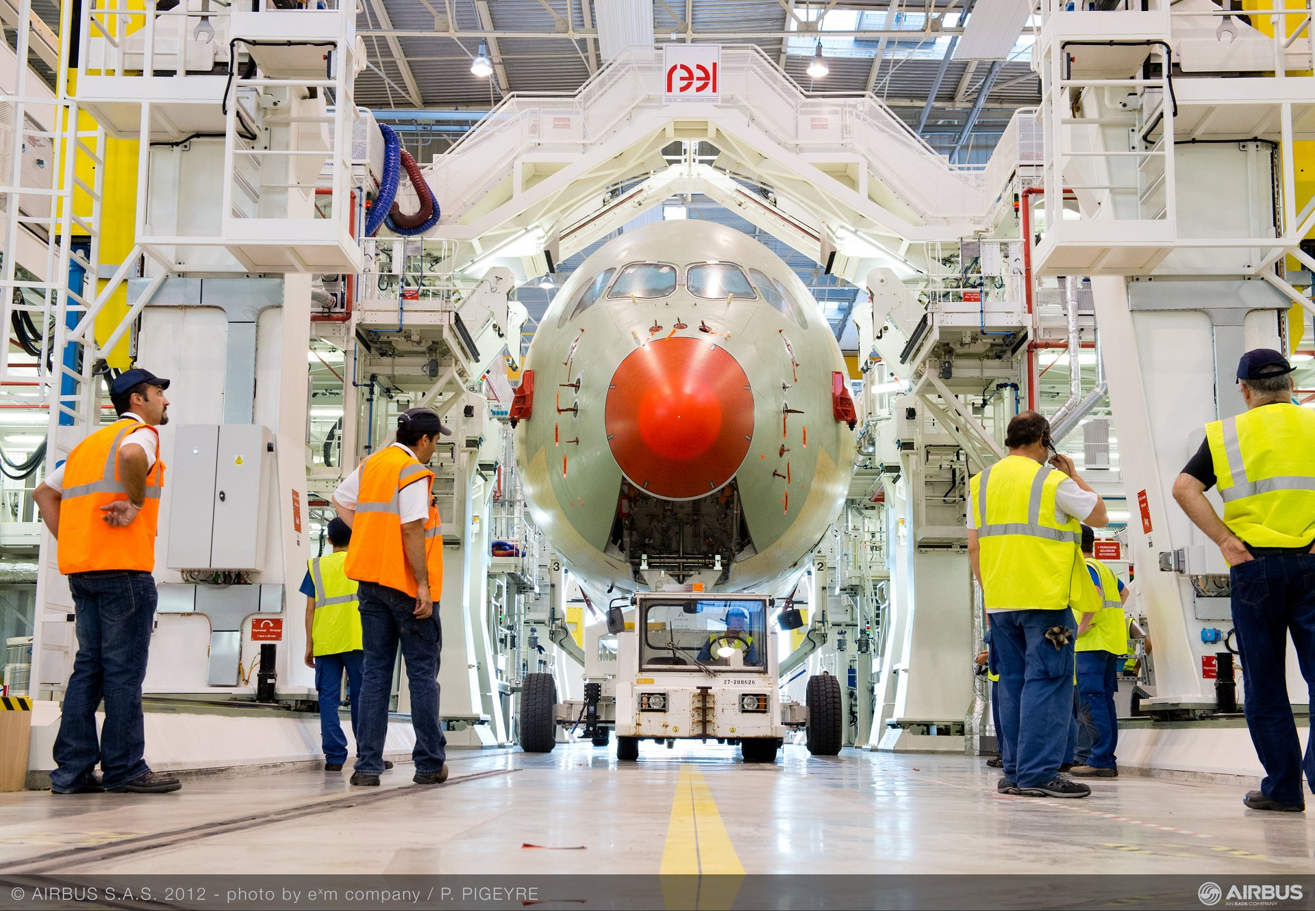 The nose section of Airbus' first A350 XWB to fly is transported to the Station 50 fuselage join-up position of the purpose-built final assembly line at Toulouse, France.
