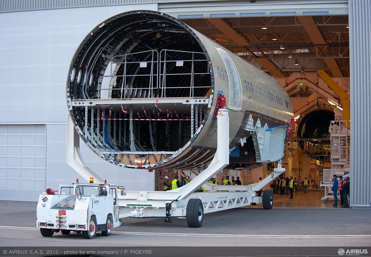 A350 XWB first centre fuselage arriving in the Final Assembly Line in Toulouse, France