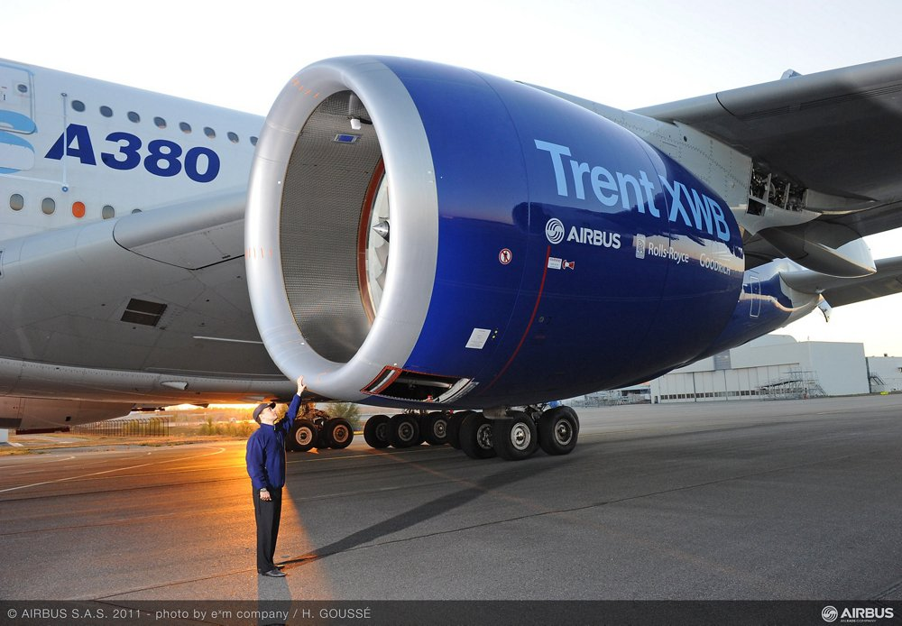 A Rolls-Royce Trent XWB engine, developed for Airbus' A350 XWB commercial aircraft, underwent in-flight evaluations on the A380 flying testbed aircraft.