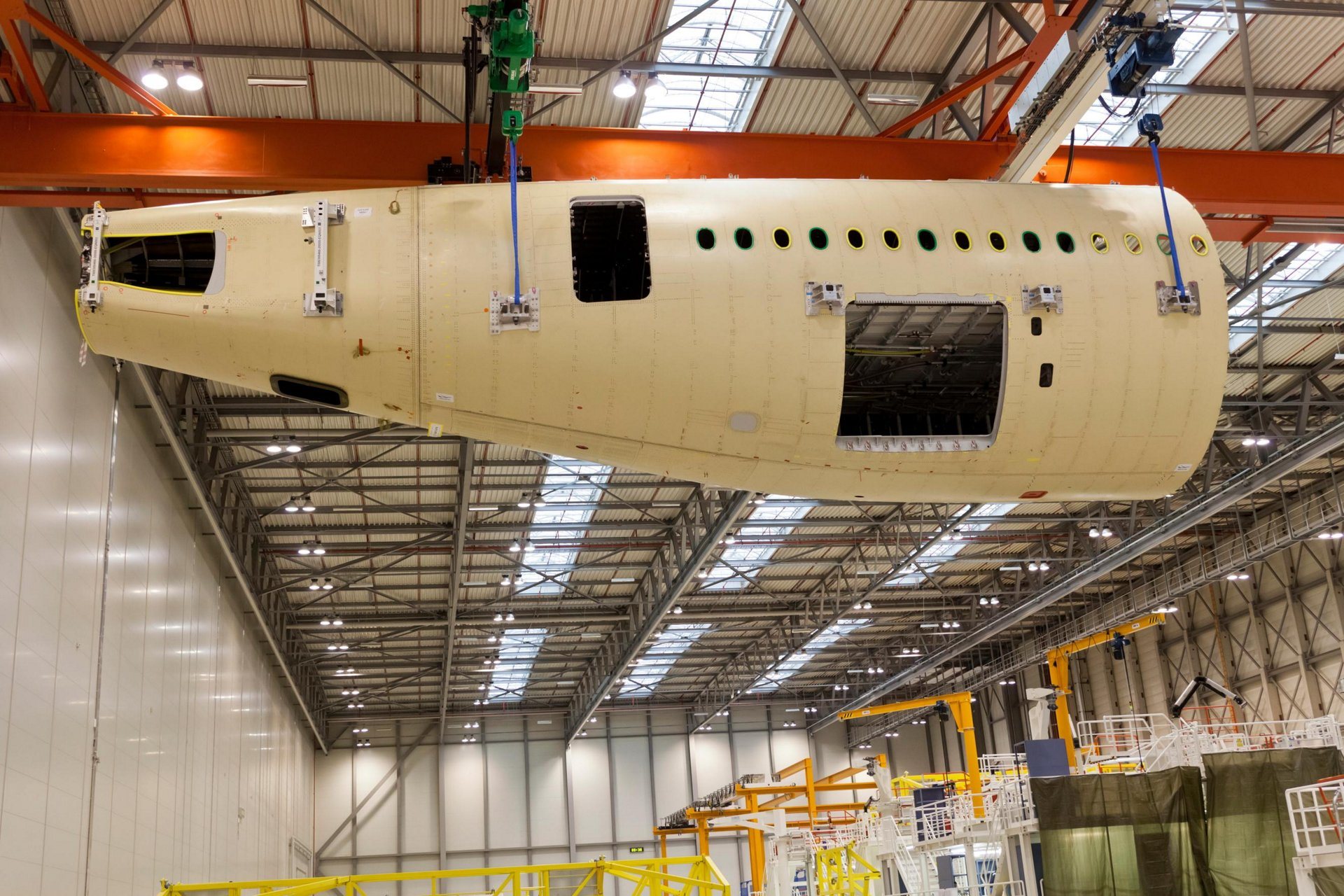 First A350 XWB aft fuselage built. Structural assembly of the first A350 XWB aft fuselage destined for the first flying A350 XWB (MSN1) has been completed at Airbus' manufacturing site in Hamburg, Germany.