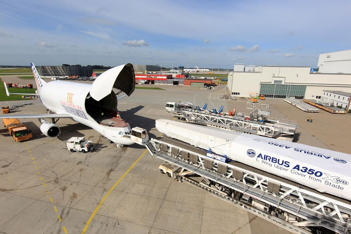 A350 XWB first wing upper cover and beluga