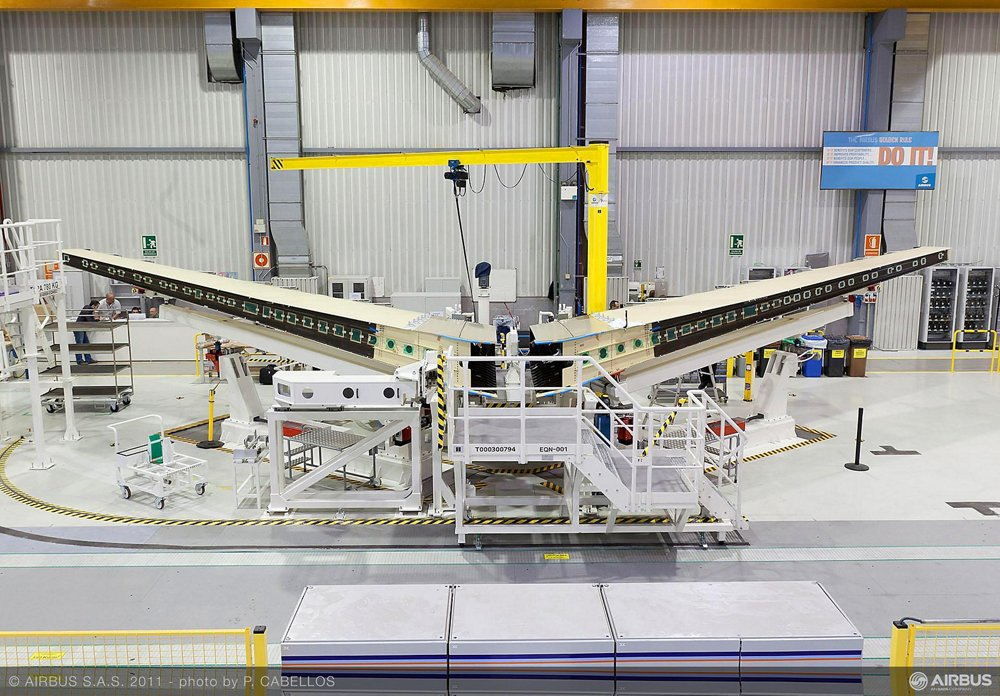 Assembly of the initial A350 XWB horizontal tailplane was commenced by Airbus in Getafe, Spain (24 October 2011)