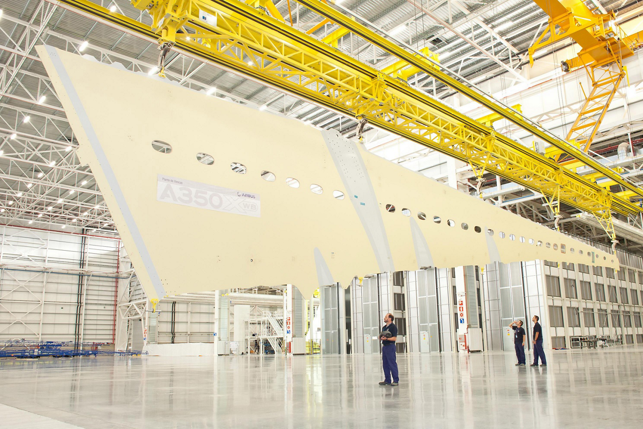 The first A350 XWB lower wing cover is shown inside Airbus' composites manufacturing site in Spain
